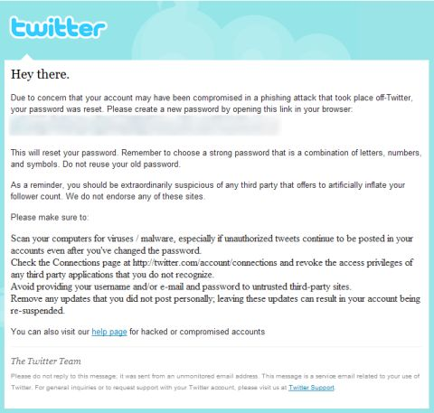 Twitter-forced password changes; possible phishing attacks.